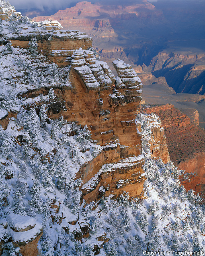 Grand Canyon National Park, AZ   <br /> Morning light on clearing winter storm near Mather Point on the Canyon's South Rim