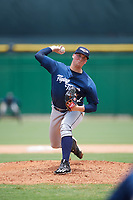 Lakeland Flying Tigers starting pitcher Kyle Funkhouser (47) delivers a pitch during the second game of a doubleheader against the Clearwater Threshers on June 14, 2017 at Spectrum Field in Clearwater, Florida.  Lakeland defeated Clearwater 1-0.  (Mike Janes/Four Seam Images)