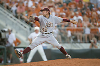 Arizona State Sun Devil pitcher Mitchell Lambson #40 delivers against the Texas Longhorns in NCAA Tournament Super Regional Game #3 on June 12, 2011 at Disch Falk Field in Austin, Texas. (Photo by Andrew Woolley / Four Seam Images)