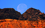 pvcmoon1/11-22-02/jp3/asec.  The moon sets over The Bear Mountains in the Cibola National Forest near the Sevilleta National Wildlife Refuge near La Hoya, Friday Nov. 22, 2002.  (Pat Vasquez-Cunningham/Journal)