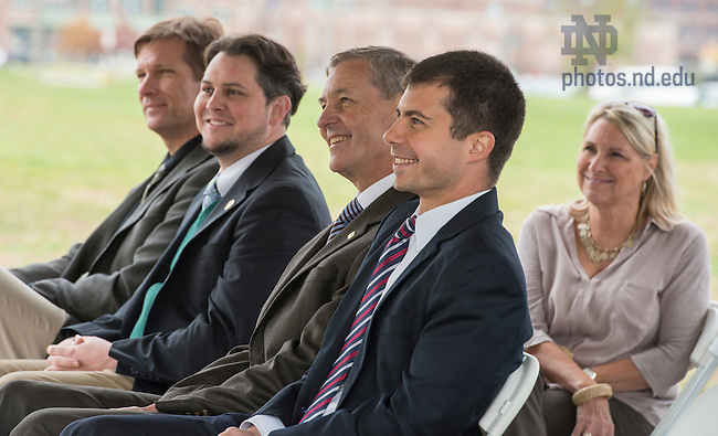 Oct. 15, 2014; John Affleck-Graves, executive vice president and Mayor Peter Buttigieg at the ground breaking for the ND Turbo Machinery facility in South Bend. Photo by Barbara Johnston/University of Notre Dame)