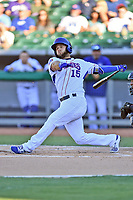 Tennessee Smokies second baseman David Bote (15) swings at a pitch during a game against the Pensacola Blue Wahoos at Smokies Stadium on August 5, 2017 in Kodak, Tennessee. The Smokies defeated the Blue Wahoos 6-2. (Tony Farlow/Four Seam Images)