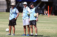 Jaco Pienaar (Assistant Coach) of the Cell C Sharks with Robert du Preez (Head Coach) of the Cell C Sharks and Dick Muir as an attack and backline consultant of the Cell C Sharks during the cell c sharks pre season training session at  Growthpoint Kings Park ,22,01,2018 Photo by Steve Haag)
