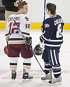 Chris Collins, Greg Collins - The Boston College Eagles and University of New Hampshire earned a 3-3 tie on Thursday, March 2, 2006, on Senior Night at Kelley Rink at Conte Forum in Chestnut Hill, MA.  Boston College honored its three seniors, captain Peter Harrold and alternate captains Chris Collins and Stephen Gionta, before the game.