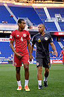 Harrison, NJ - Wednesday Aug. 03, 2016: Tyler Adams, Chris Armas during a CONCACAF Champions League match between the New York Red Bulls and Antigua at Red Bull Arena.