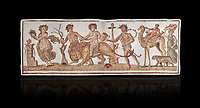 Picture of a Roman mosaics design depicting Dionysus riding a lion; from the ancient Roman city of Thysdrus. 2nd century AD House of the Dionysus Proccession. El Djem Archaeological Museum; El Djem; Tunisia. Against a black background