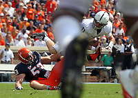Virginia linebacker Steve Greer (53) sacks Penn State quarterback Matthew McGloin (11) during the first half of an NCAA football game Saturday Sept. 8, 2012 in Charlottesville, VA. Photo/Andrew Shurtleff