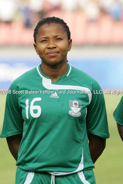 12 August 2008: Ulunma Jerome (NGA).  The women's Olympic team of Brazil defeated the women's Olympic soccer team of Nigeria 3-1 at Beijing Workers' Stadium in Beijing, China in a Group F round-robin match in the Women's Olympic Football competition.