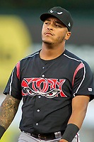 Lake Elsinore Storm Marcus Greene Jr. (6) on defense against the Rancho Cucamonga Quakes at LoanMart Field on April 20, 2018 in Rancho Cucamonga, California. The Quakes defeated the Storm 7-5.  (Donn Parris/Four Seam Images)