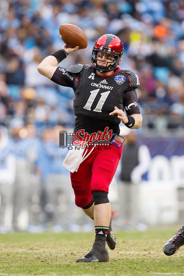Cincinnati Bearcats quarterback Brendon Kaye (11) passes the ball during the Belk Bowl against the North Carolina Tar Heels at Bank of America Stadium on December 28, 2013 in Charlotte, North Carolina.  The Tar Heels defeated the Bearcats 39-17.   (Brian Westerholt/Sports On Film)