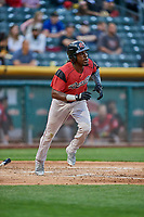 Orlando Calixte (2) of the Sacramento River Cats bats against the Salt Lake Bees at Smith's Ballpark on May 17, 2018 in Salt Lake City, Utah. Salt Lake defeated Sacramento 12-11. (Stephen Smith/Four Seam Images)