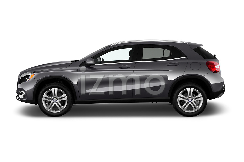 Car driver side profile view of a 2018 Mercedes Benz GLA 250 4MATIC 5 Door SUV