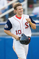 Peter Hissey #10 of the Salem Red Sox is all smiles after scoring a run against the Kinston Indians at Lewis-Gale Field May 1, 2010, in Winston-Salem, North Carolina.  Photo by Brian Westerholt / Four Seam Images