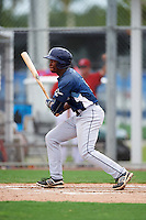 GCL Rays left fielder Ryan Caldwell (9) at bat during the second game of a doubleheader against the GCL Red Sox on August 9, 2016 at JetBlue Park in Fort Myers, Florida.  GCL Rays defeated GCL Red Sox 9-1.  (Mike Janes/Four Seam Images)