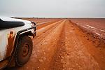 Australia, South Australia; desert track west of Lake Eyre in rain