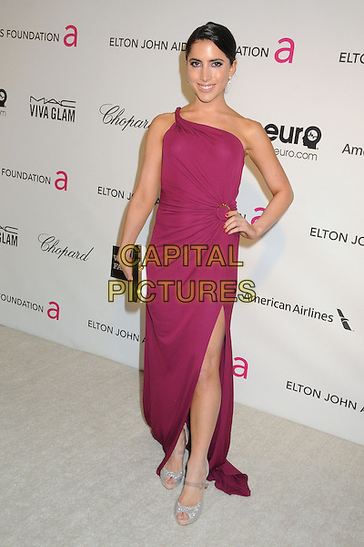 Caren Brooks.21st Annual Elton John Academy Awards Viewing Party held at West Hollywood Park, West Hollywood, California, USA..February 24th, 2013.oscars full length purple dress one shoulder hand on hip black white clutch bag.CAP/ADM/BP.©Byron Purvis/AdMedia/Capital Pictures.