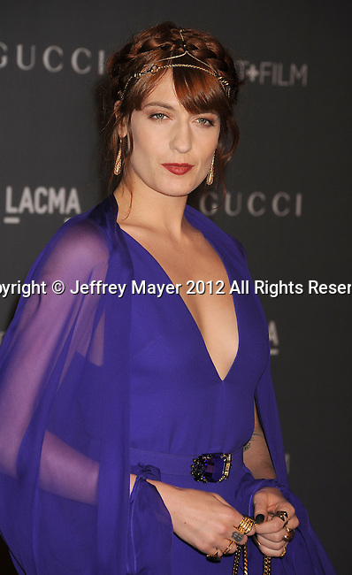 LOS ANGELES, CA - OCTOBER 27: Florence Welch arrives at LACMA Art + Film Gala at LACMA on October 27, 2012 in Los Angeles, California.