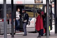 Roma 3 Dicembre 2015<br /> Giubileo, i nuovi biglietti dell'Atac per i pellegrini.<br /> Presentati i biglietti Atac da collezione per il Giubileo, con una serie speciale di quattro BIT raffiguranti Papa Francesco e contenuti in una custodia souvenir. Presentata anche  anche la RomeJubilee, la card in tiratura limitata con l'immagine del Pontefice,che consentir&agrave; agli acquirenti di caricare tutta l&rsquo;offerta turistica di Atac, dal ticket giornaliero a quello settimanale. Nella foto: La polizia controlla le fermate degli autobus in piazza dei Cinquecento.<br /> Rome December 3, 2015<br /> Jubilee, the new ATAC tickets for pilgrims.<br /> Presented  collectible tickets Atac  (Tramways Company and Coach of the Municipality of Rome) for the Jubilee, with a special series of four BIT depicting Pope Francis and contained in a case souvenirs. Also presented also RomeJubilee, the limited edition card with the image of the Pope, which allow buyers to load all the tourist offer of Atac, from ticket daily to weekly. Pictured:  The police check the bus stops in Piazza dei Cinquecento.