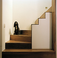 The staircase with wood flooring.