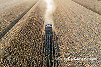 63801-12412 Harvesting corn in fall-aerial  Marion Co. IL