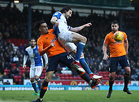 Blackburn Rovers' Charlie Mulgrew is tackled by Oldham Athletic's Kean Bryan<br /> <br /> Photographer Rachel Holborn/CameraSport<br /> <br /> The EFL Sky Bet League One - Blackburn Rovers v Oldham Athletic - Saturday 10th February 2018 - Ewood Park - Blackburn<br /> <br /> World Copyright &copy; 2018 CameraSport. All rights reserved. 43 Linden Ave. Countesthorpe. Leicester. England. LE8 5PG - Tel: +44 (0) 116 277 4147 - admin@camerasport.com - www.camerasport.com