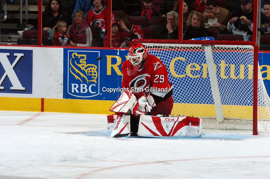 Carolina Hurricanes' goaltender Martin Gerber of Switzerland makes a pad save against the Florida Panthers Friday, March 3, 2006 at the RBC Center in Raleigh, NC. Carolina won 5-2.