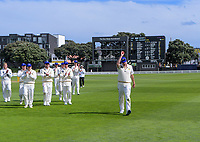 Otago's Jacob Duffy celebrates his 7-wicket haul during day two of the Plunket Shield cricket match between the Wellington Firebirds and Otago Volts at the Basin Reserve in Wellington, New Zealand on Tuesday, 22 October 2019. Photo: Dave Lintott / lintottphoto.co.nz
