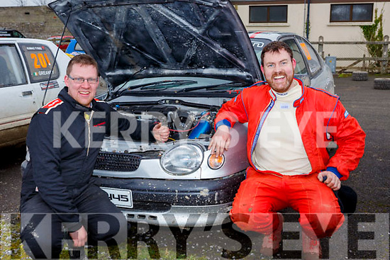 Doing pre check on their car before the Jimmy Devane Moto Cross at Ballybeggan Racecourse on Saturday last,  l-r, Paul Harrington (Macroom) and William Meade (Rathkeale).