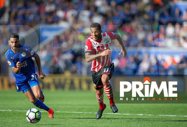 Ryan Bertrand of Southampton moves away from Riyad Mahrez of Leicester City during the Premier League match between Leicester City and Southampton at the King Power Stadium, Leicester, England on 2 October 2016. Photo by Andy Rowland.