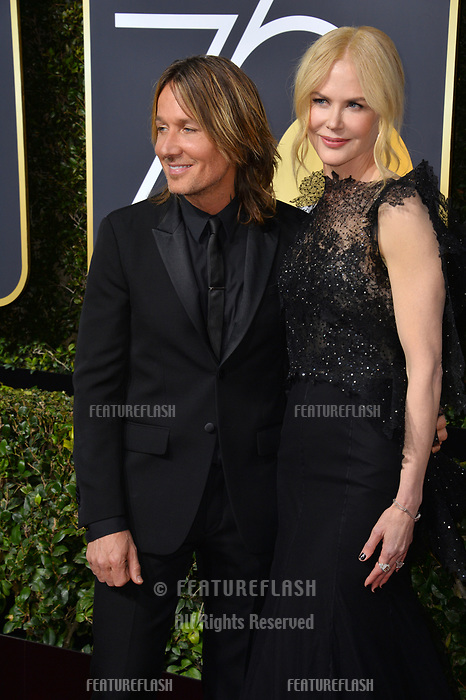 Nicole Kidman & Keith Urban at the 75th Annual Golden Globe Awards at the Beverly Hilton Hotel, Beverly Hills, USA 07 Jan. 2018<br /> Picture: Paul Smith/Featureflash/SilverHub 0208 004 5359 sales@silverhubmedia.com