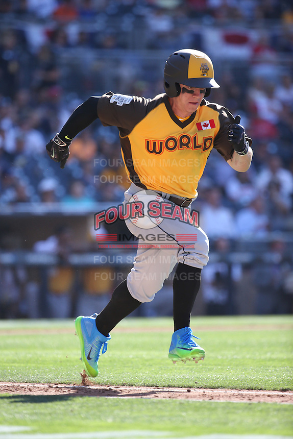 Tyler O'Neill of the World Team runs to first base during a game against the USA Team during The Futures Game at Petco Park on July 10, 2016 in San Diego, California. World Team defeated USA Team, 11-3. (Larry Goren/Four Seam Images)