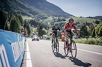 Maxime Monfort (BEL/Lotto-Soudal) & Patrick Konrad (AUT/Bora-Hansgrohe) with 1km to go<br /> <br /> Stage 18: Moena › Ortisei/St. Urlich (137km)<br /> 100th Giro d'Italia 2017