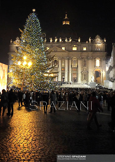 Christmas tree in Saint Peter's Square;Pope Benedict XVI celebrates the midndight Christmas mass at St. Peter's Basilica in Vatican City on December 24, 2012