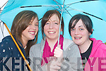 UNDER COVER: Aoife Musgrave, Angela OSullivan and Lucy OShea, Caherciveen,.shelter from the rain at the Caherciveen Regatta last Saturday.