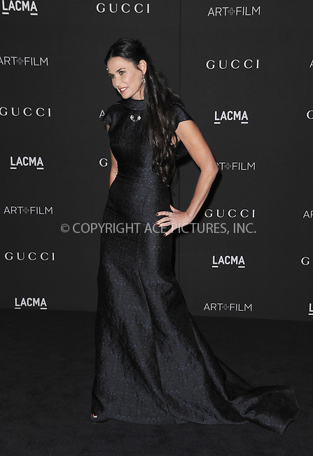 ACEPIXS.COM<br /> <br /> November 1 2014, LA<br /> <br /> Demi Moore arriving at the 2014 LACMA Art + Film Gala honoring film director Quentin Tarantino and artist Barbara Kruger on November 1, 2014 in LA.<br /> <br /> By Line: Peter West/ACE Pictures<br /> <br /> ACE Pictures, Inc.<br /> www.acepixs.com<br /> Email: info@acepixs.com<br /> Tel: 646 769 0430