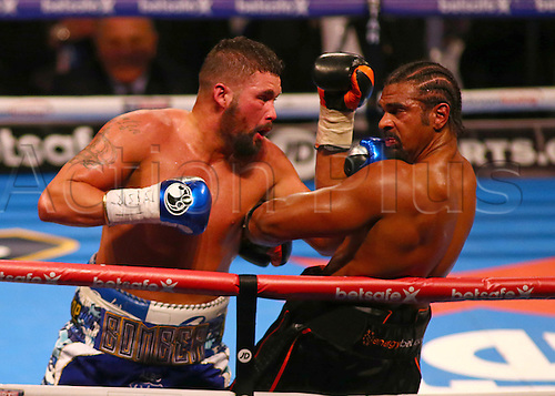 March 4th 2017, O2 Arena, London England; Heavyweight Boxing David Haye versus Tony Bellew; Tony Bellew forces David Haye onto the ropes, and catches him with a right hook, during the Heavyweight contest