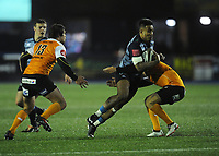 Cardiff Blues&rsquo; Rey Lee-Lo is tackled by Toyota Cheetahs&rsquo; Fred Zeilinga<br /> <br /> Photographer Kevin Barnes/CameraSport<br /> <br /> Guinness Pro14  Round 14 - Cardiff Blues v Toyota Cheetahs - Saturday 10th February 2018 - Cardiff Arms Park - Cardiff<br /> <br /> World Copyright &copy; 2018 CameraSport. All rights reserved. 43 Linden Ave. Countesthorpe. Leicester. England. LE8 5PG - Tel: +44 (0) 116 277 4147 - admin@camerasport.com - www.camerasport.com