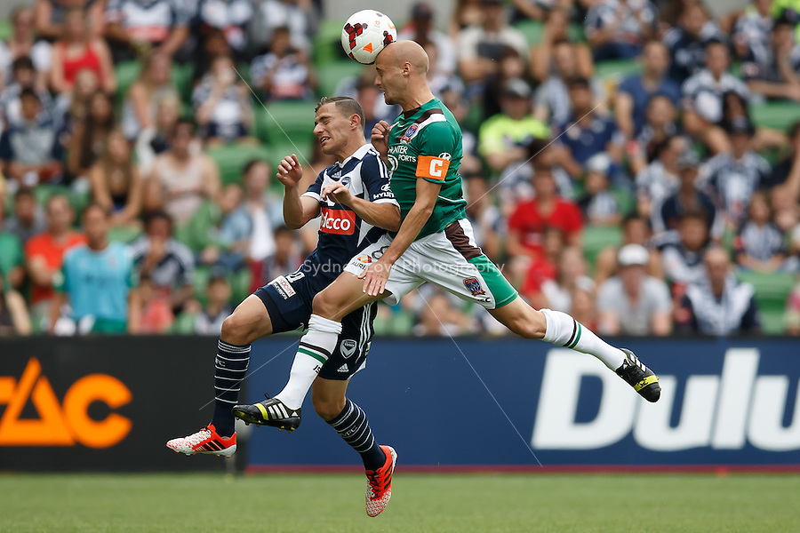 Ruben ZADKOVICH of the Jets heads the ball in the round nine match between Melbourne Victory and the Newcastle Jets in the Australian Hyundai A-League 2013-24 season at AAMI Park, Melbourne, Australia. Photo Sydney Low/Zumapress<br /> <br /> This image is not for sale on this web site. Please visit zumapress.com for licensing