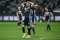 29th July 2020; Bankwest Stadium, Parramatta, New South Wales, Australia; A League Football, Melbourne Victory versus Brisbane Roar; Storm Roux of Melbourne Victory frustrated as he misses a chance to score
