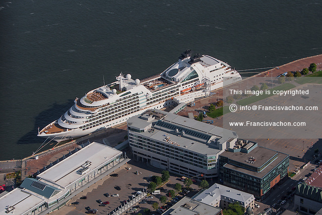 A cruise ship is seen docked by the cruise ship terminal in Port de Quebec in this aerial photo in Quebec city Thursday September 3, 2015.