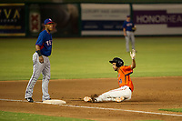 AZL Giants left fielder Aaron Bond (38) slides into third base against the AZL Rangers on August 22 at Scottsdale Stadium in Scottsdale, Arizona. AZL Rangers defeated the AZL Giants 7-5. (Zachary Lucy/Four Seam Images via AP Images)