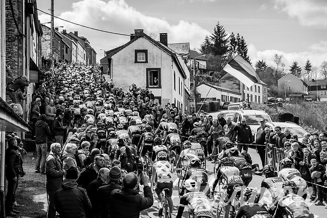 peloton up the iconic C&ocirc;te de Saint-Roch in Houffalize<br /> <br /> 103rd Li&egrave;ge-Bastogne-Li&egrave;ge 2017 (1.UWT)<br /> One Day Race: Li&egrave;ge &rsaquo; Ans (258km)