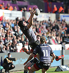 Ospreys flanker James King claims the restart ball.<br /> Guiness Pro12<br /> Ospreys v Munster<br /> Liberty Stadium<br /> 07.03.15<br /> &copy;Steve Pope - SPORTINGWALES