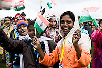 Indian scouts are cheering while waiting for the opening ceremony. Photo: Fredrik Sahlström/Scouterna