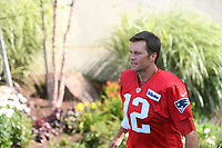 July 27, 2018: New England Patriots quarterback Tom Brady (12) heads to practice at the New England Patriots training camp held on the practice fields at Gillette Stadium, in Foxborough, Massachusetts. Eric Canha/CSM