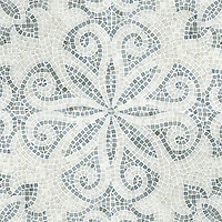 Arabella, a handchopped and tumbled mosaic shown in tumbled Paperwhite and Bardiglio, is part of New Ravenna's Studio Line of ready to ship mosaics.
