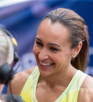 Jessica Ennis-Hill gives a interview during the Sainsbury's Anniversary Games, Athletics event at the Olympic Park, London, England on 25 July 2015. Photo by Andy Rowland.