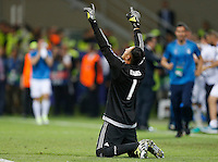 Calcio, finale di Champions League: Real Madrid vs Atletico Madrid. Stadio San Siro, Milano, 28 maggio 2016.<br /> Real Madrid's goalkeeper Keylor Navas celebrates the win of the penalty shootout at the end of the Champions League final match between Real Madrid and Atletico Madrid, at Milan's San Siro stadium, 28 May 2016. Real Madrid won 5-4 on penalties after the match ended 1-1.<br /> UPDATE IMAGES PRESS/Isabella Bonotto