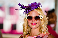 BALTIMORE, MD - MAY 19: A woman showing off her hat and glasses on Black-Eyed Susan Day at Pimlico Race Course on May 19, 2017 in Baltimore, Maryland.(Photo by Douglas DeFelice/Eclipse Sportswire/Getty Images)