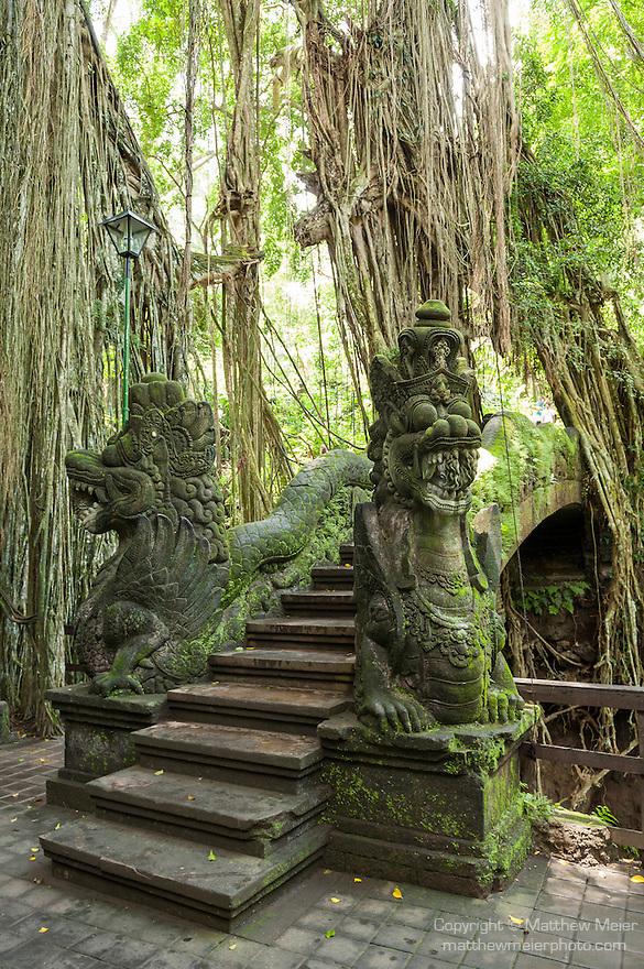 Monkey Forest, Ubud, Bali, Indonesia; the dragon bridge in the sanctuary